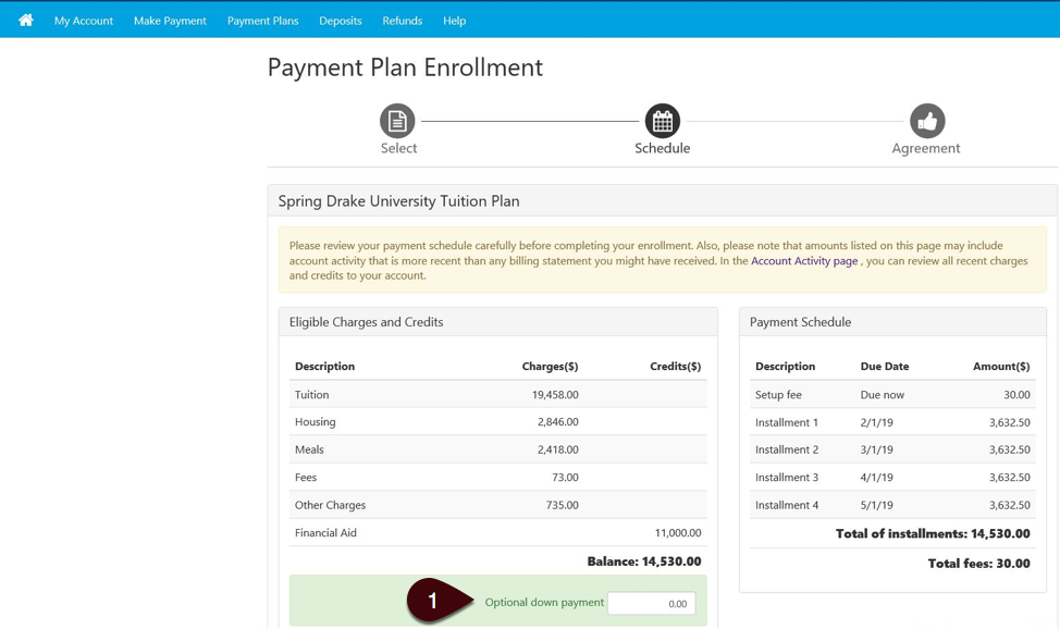 Down payment entry screen