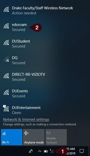Available wireless networks list as shown in Windows 10 enviroment