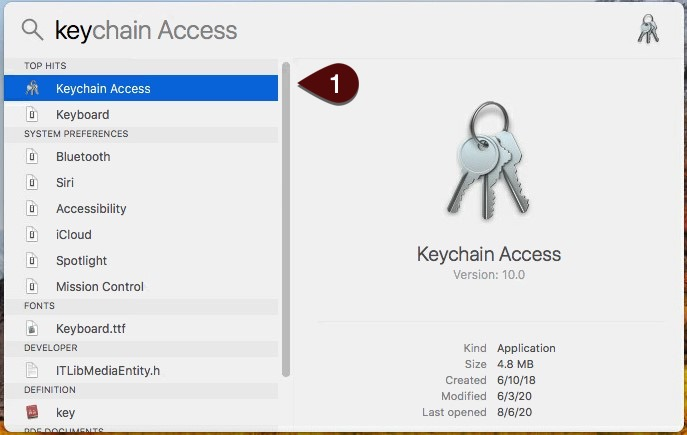 Keychain access screen