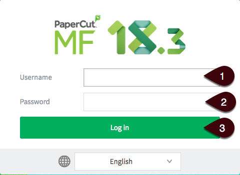 PaperCut login screen