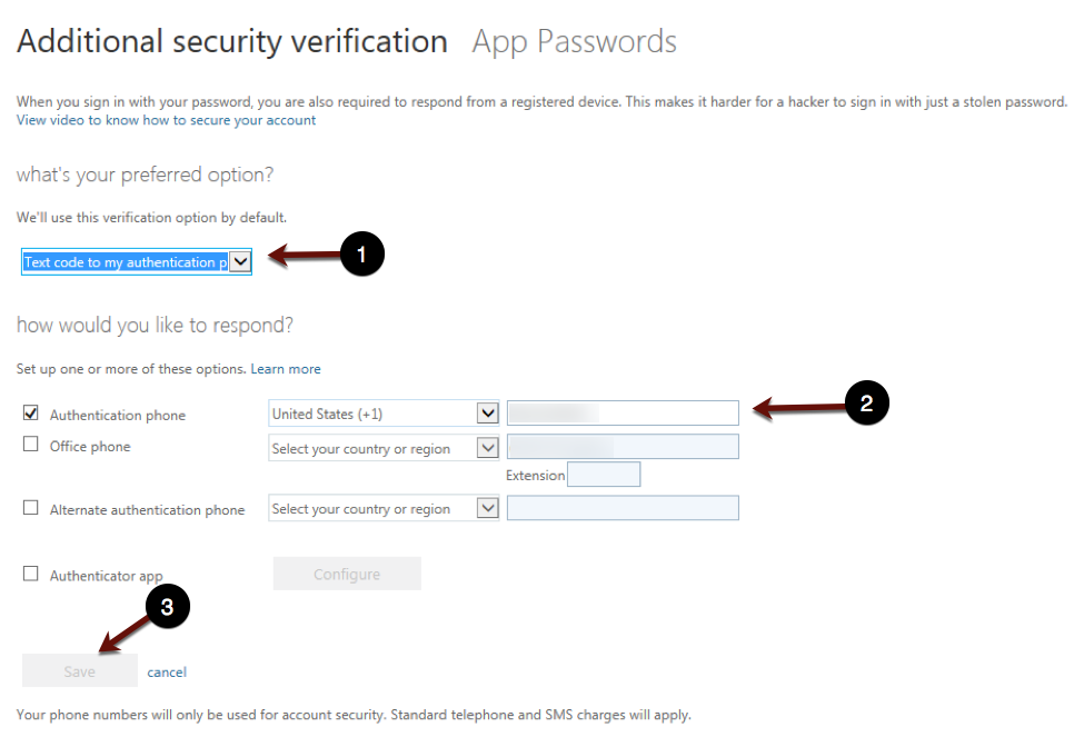 Preferred verification option screenshot
