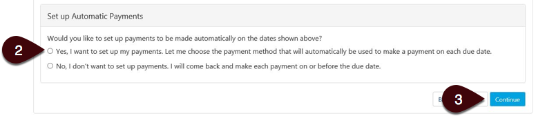 Set up automatic payments screen