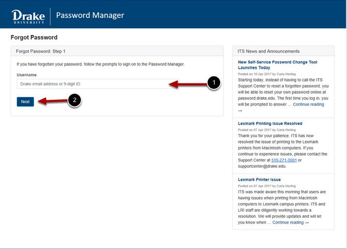 Forgot Password Step 1