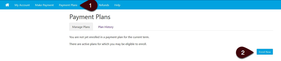 Payment Plans tab screenshot