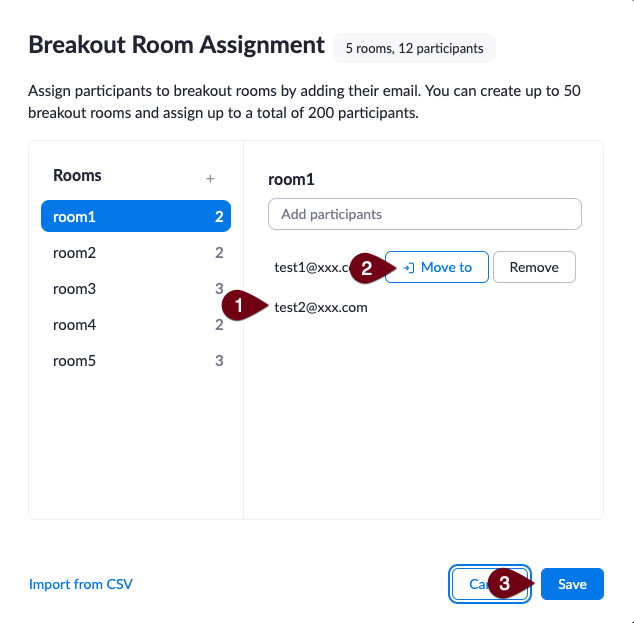 Image of breakout room assignments