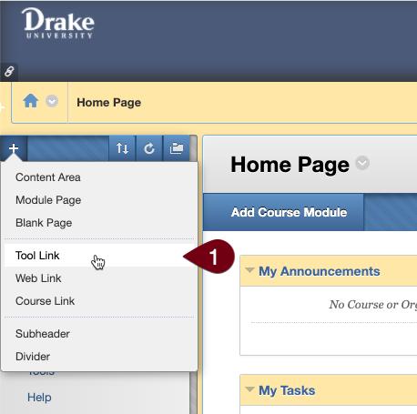 Blackboard course tool menu