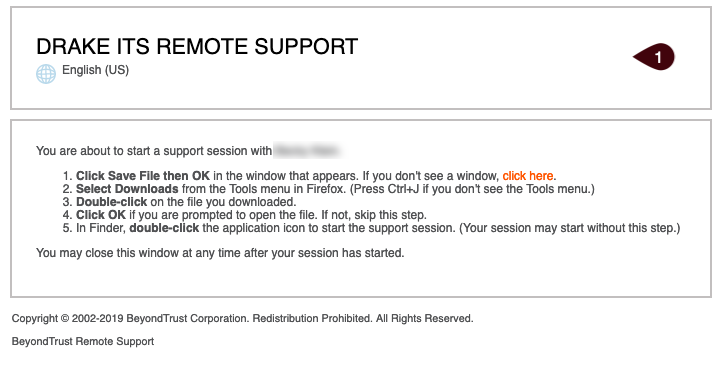 Drake ITS Remote Support browser window