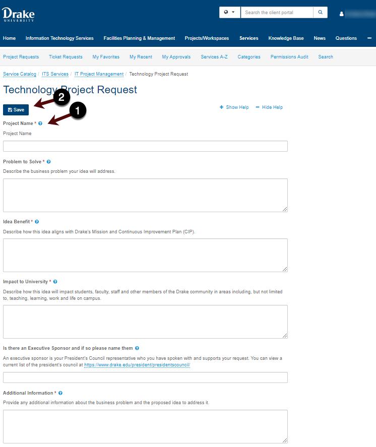 Project request screenshot