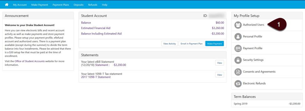 Authorized User setup screenshot