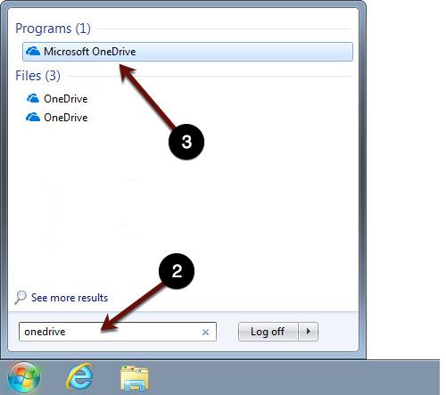 Searching for OneDrive Win 7 screenshot