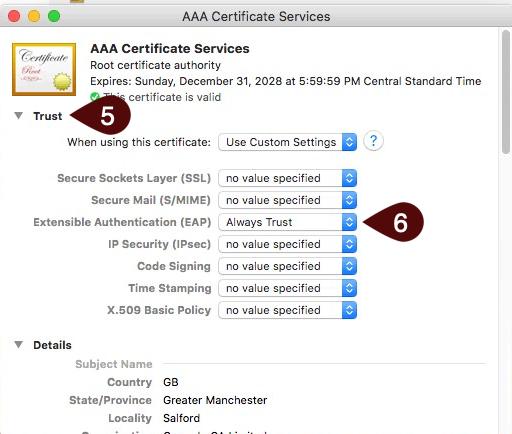 Certificate settings screen