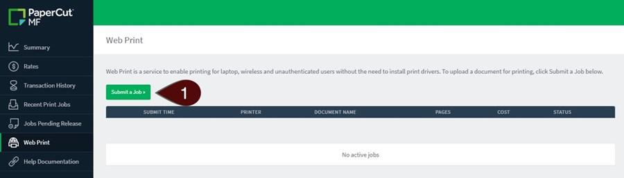 Submit a job screenshot