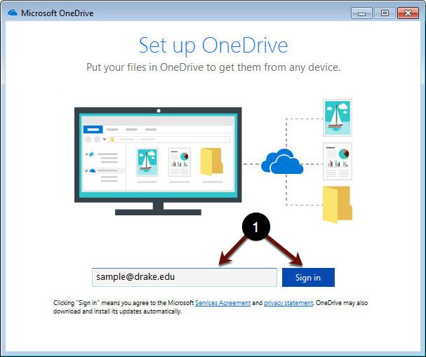 Sign in to OneDrive screenshot