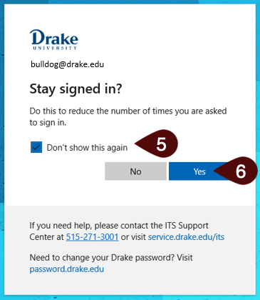 Stay signed in screen