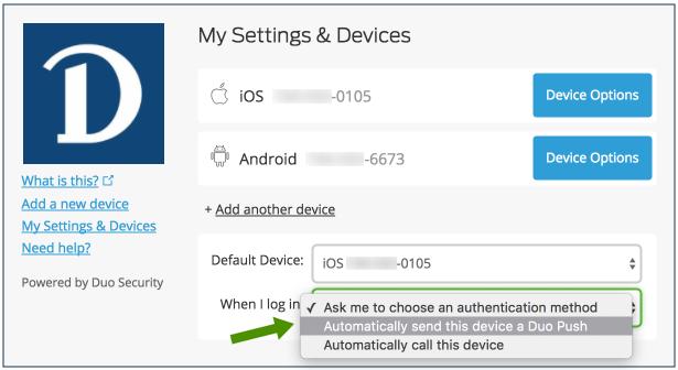Setting automatic options screenshot