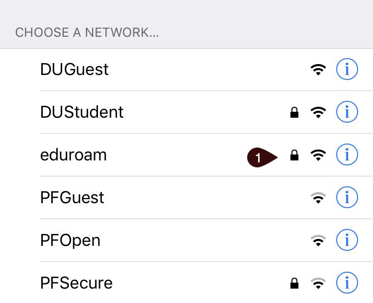 Network list showing the eduroam network