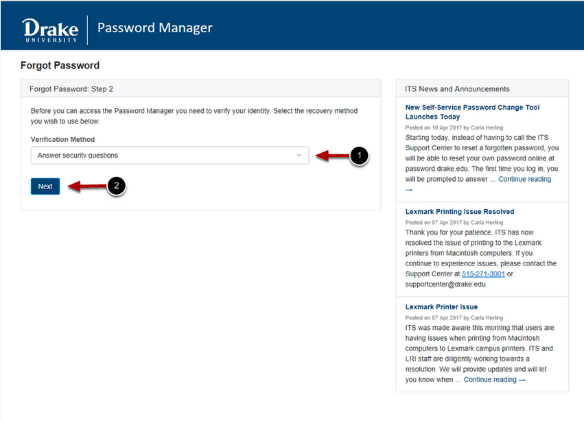Select Answer Security Questions