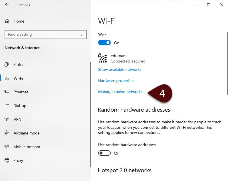 Manage known networks screen