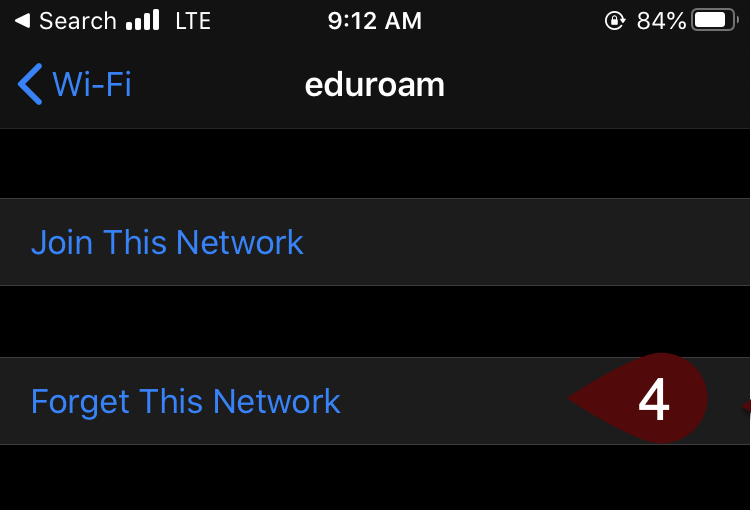 Forget This Network screen