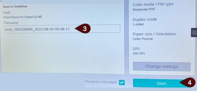 Changing Scan name screen