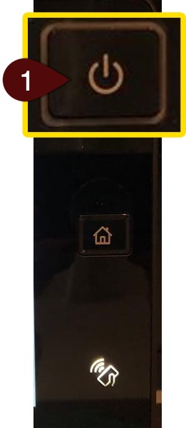 Magnified image of the power button with a 1 pointing to it.