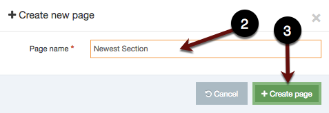 Create new page pop up screenshot