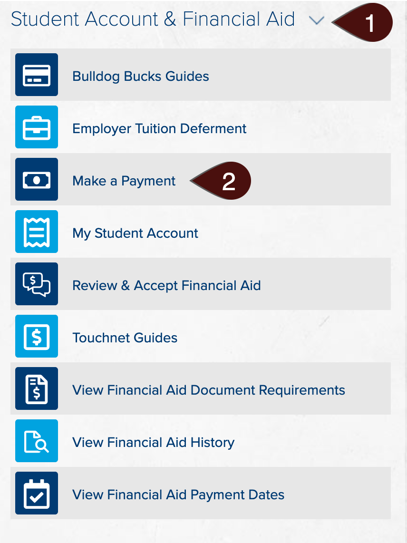 Student Account & Financial Aid menu screenshot