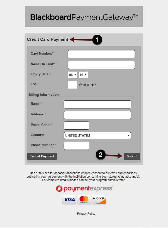 Payment Information Screen