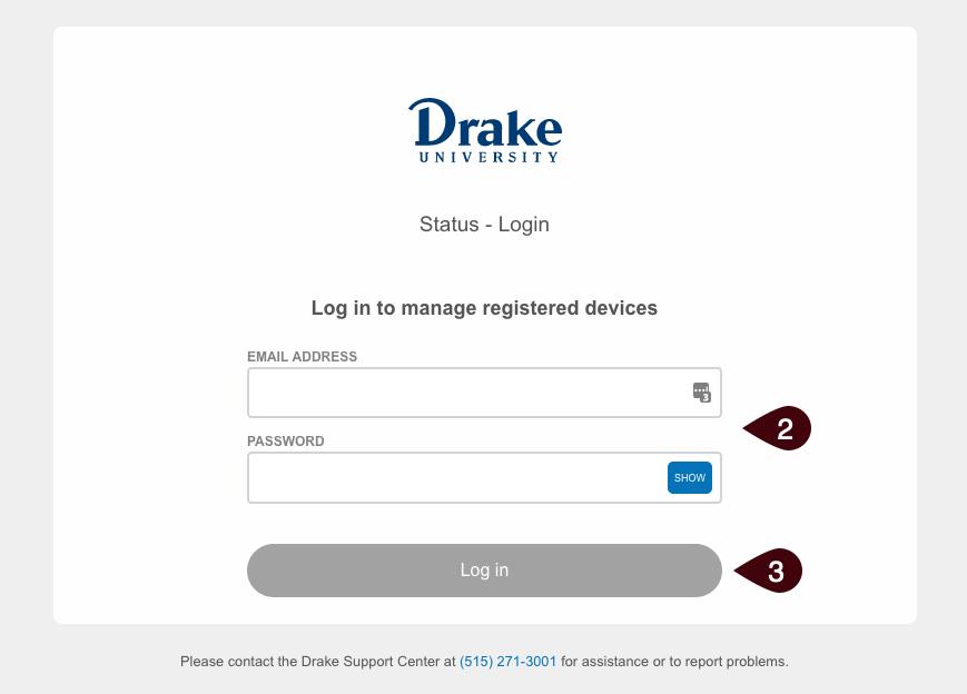 Device portal log in screen