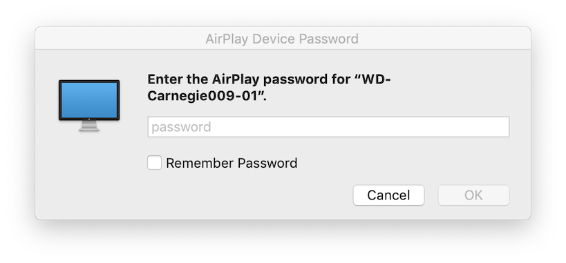 image of AirPlay password entry screen