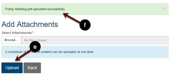 Uploading attachments screenshot