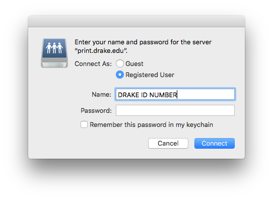 Entering Name and password screen