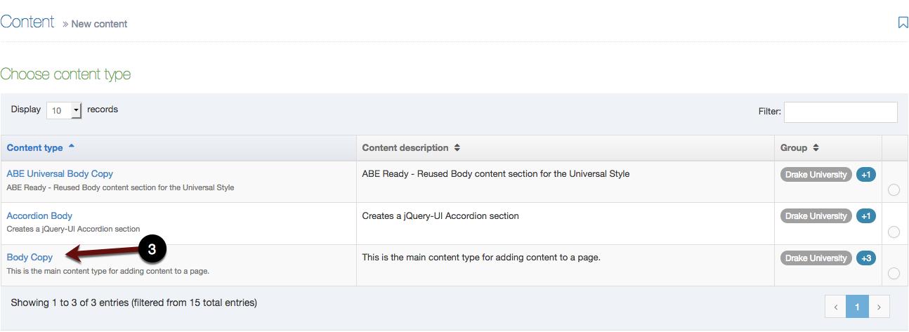 Choose content type screenshot