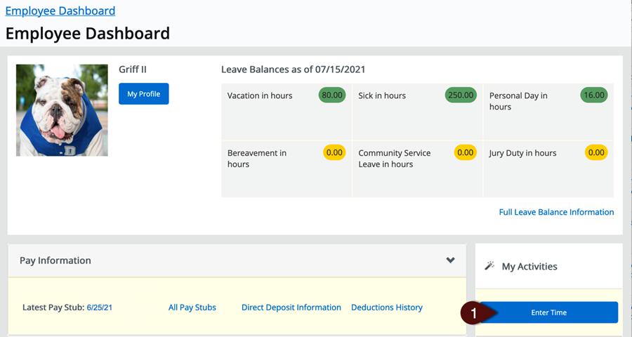 Employee Dashboard Griff II Start Timesheet button