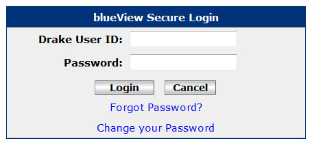 blueView Login Screen
