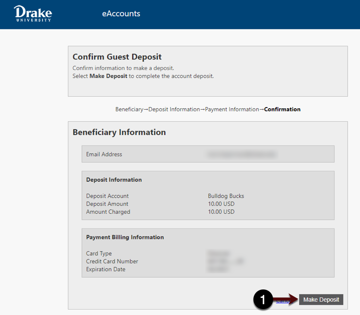 Deposit Confirmation Screen