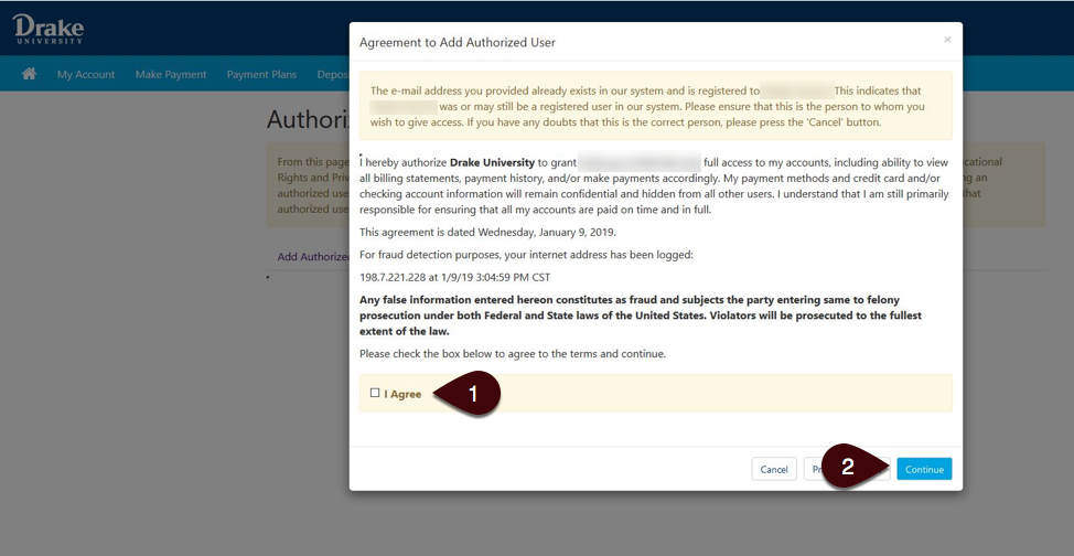 Agreement to add authorized user screenshot