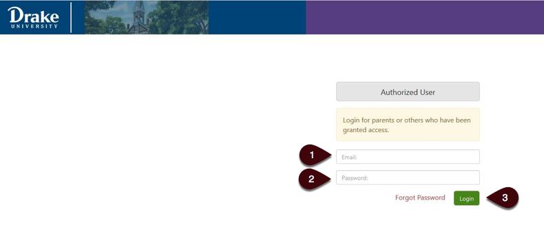 Authorized User Login Screen