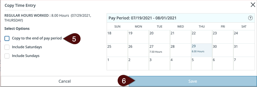 Calendar screen for hourly copying