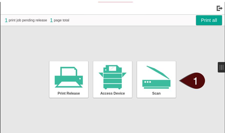 Selecting Scan screen