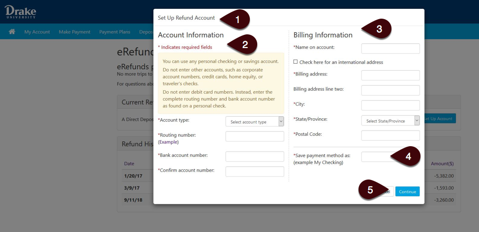 Set Up Account Screen