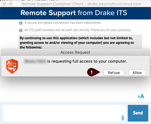 Remote Support Customer Client window