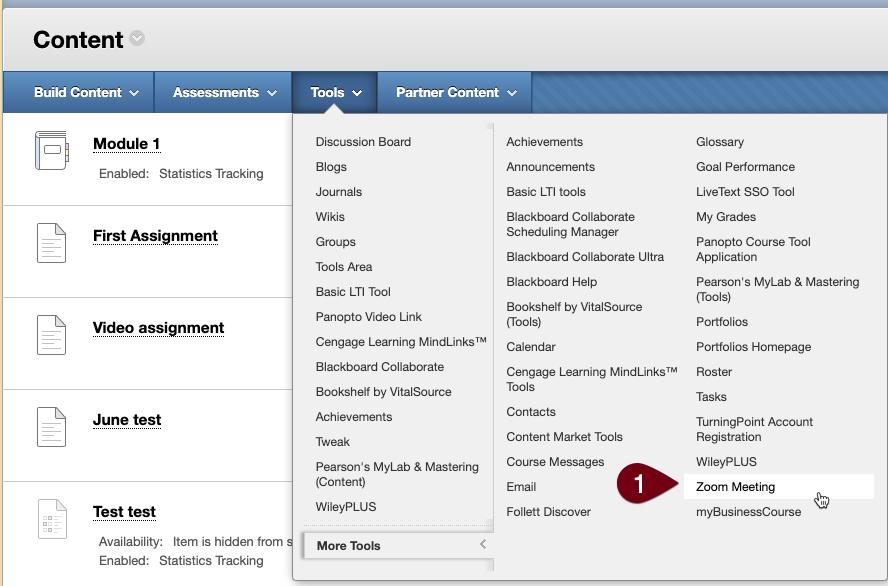 Blackboard content tools menu