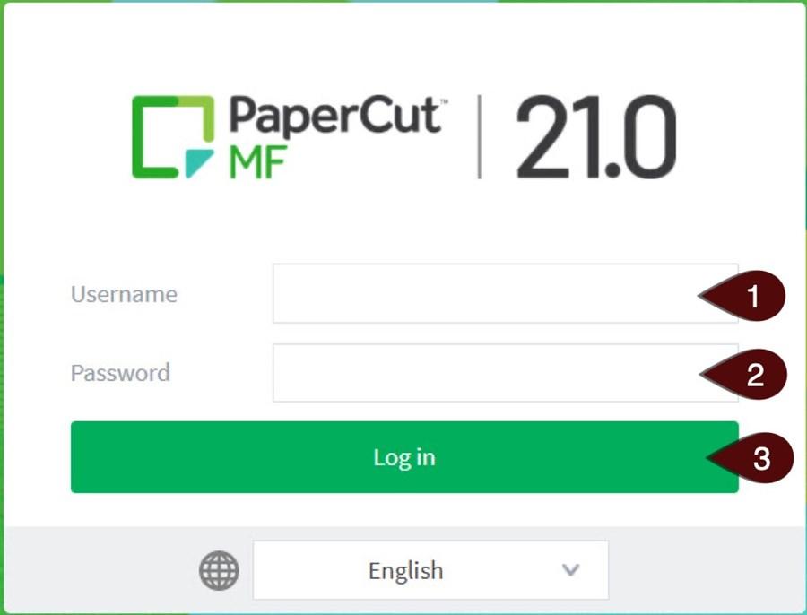 PaperCut Web Print login